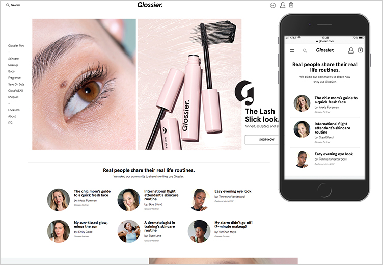 Glossier's desktop and mobile homepage