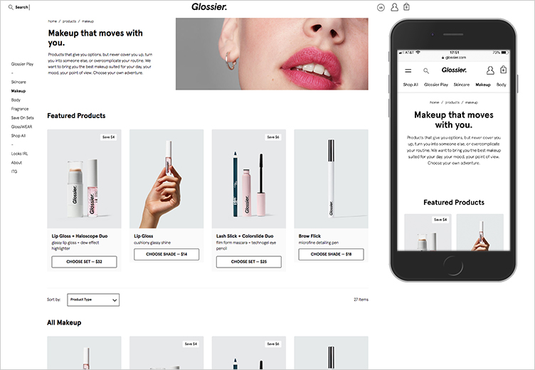 Glossier's desktop and mobile product listing page